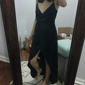 High low black satin wrap dress